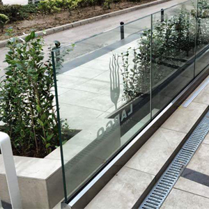 glass railing with laminated glass with digital print on it