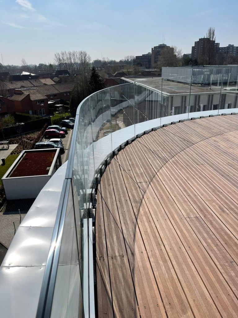 glass railing profiles with curved glass
