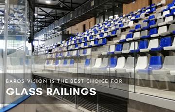 glass railings mounted on stadium mobile