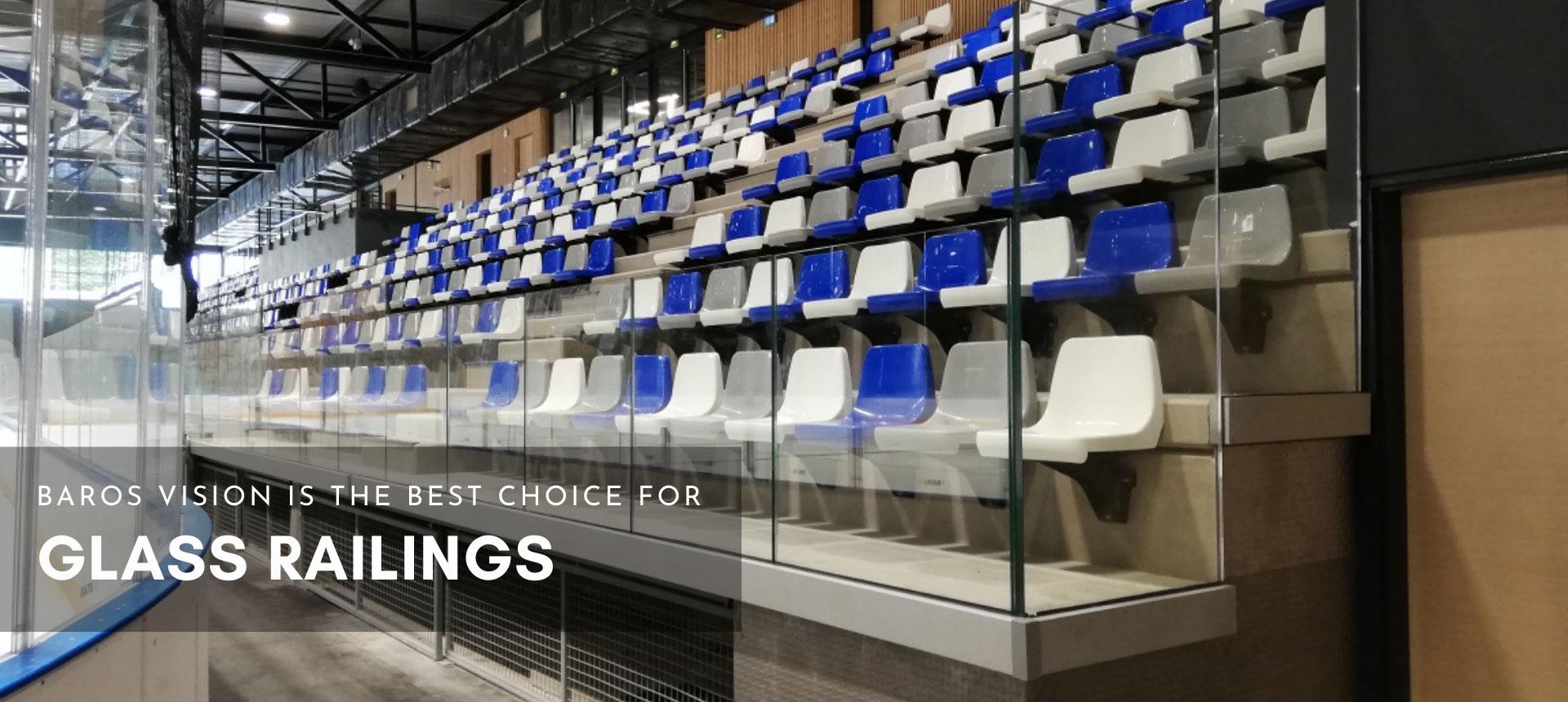 glass railings mounted on stadium