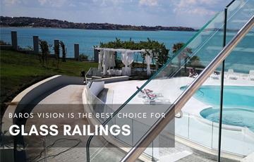 glass railings with round aluminium handle mobile